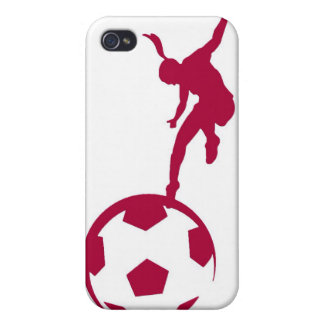 Rouge du football de filles coque iPhone 4 et 4S