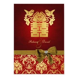 Rouge élégant et bonheur chinois d'or double carton d'invitation  12,7 cm x 17,78 cm
