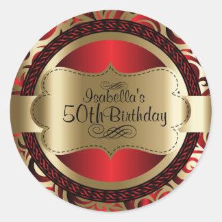 Rouge et anniversaire d'abrégé sur remous d'or sticker rond