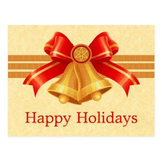 Rouge et carte postale de Noël de Bells d'or