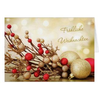 Rouge et Noël d'Allemand de babioles d'or Carte De Vœux