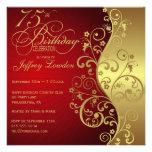 Rouge et soixante-quinzième invitation de fête d'a