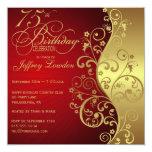 Rouge et soixante-quinzième invitation de fête carton d'invitation  13,33 cm
