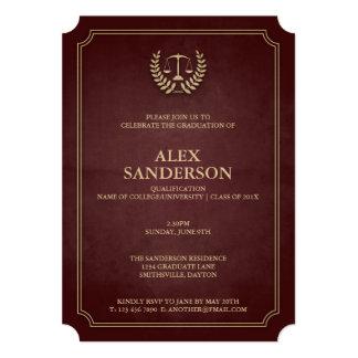 Rouge foncé et obtention du diplôme d'école de carton d'invitation  12,7 cm x 17,78 cm