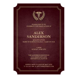 Rouge foncé+Invitation médicale d'obtention du Carton D'invitation 12,7 Cm X 17,78 Cm