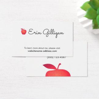 Rouge simple Apple de professeur d'école primaire Cartes De Visite