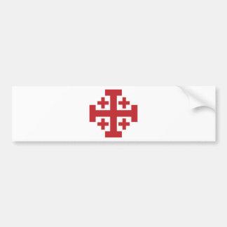 Rouge simple de croix de Jérusalem Autocollant De Voiture