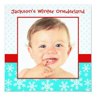 Rouge turquoise de flocons de neige d'hiver de carton d'invitation  13,33 cm