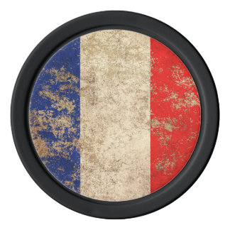 Rough Aged Vintage French Flag Poker Chips