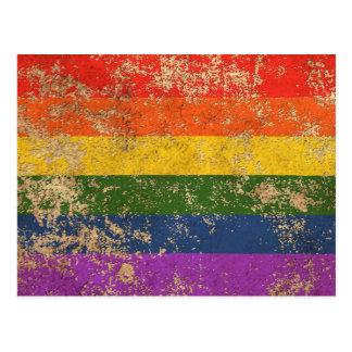Rough Aged Vintage Rainbow Gay Pride Flag Postcard