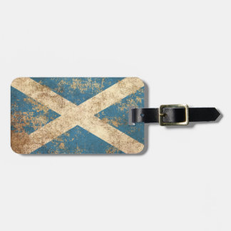 Rough Aged Vintage Scottish Flag Luggage Tag