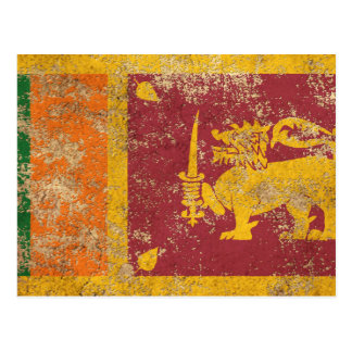 Rough Aged Vintage Sri Lanka Flag Postcard
