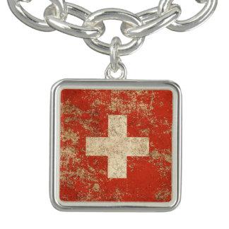 Rough Aged Vintage Swiss Flag Bracelets
