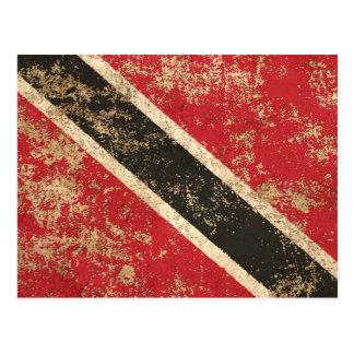Rough Aged Vintage Trinidad and Tobago Flag Postcard