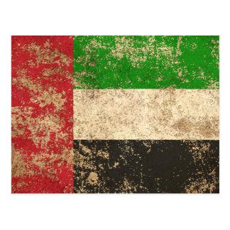 Rough Aged Vintage UAE Flag Postcard
