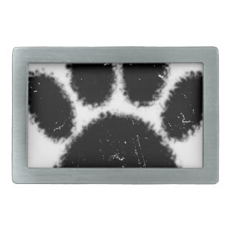Rough And Distressed Dog Paw Print Rectangular Belt Buckles