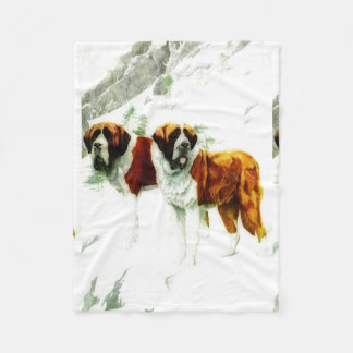 rough and smooth St Bernard - painting Fleece Blanket