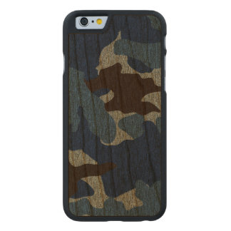 Rough Blue Camo Military Wood Grain iPhone 6 6S Carved Cherry iPhone 6 Case