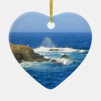 Rough Cape Neddick Coast Ceramic Heart Ornament