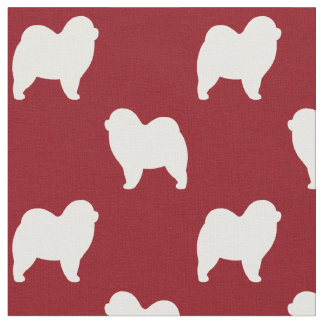 Rough Chow Chow Silhouettes Pattern Red Fabric