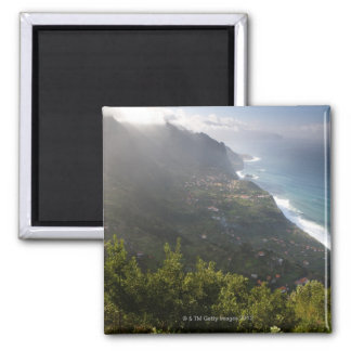 rough coast line of the atlantic island madeira magnet