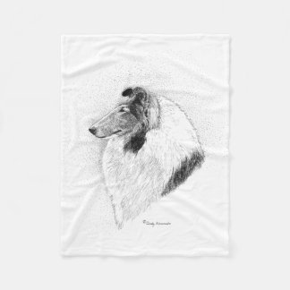 Rough Coat Collie Pen and Ink By Cindy Alvarado Fleece Blanket