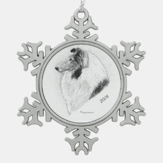 Rough Coat Collie Pen and Ink By Cindy Alvarado Snowflake Pewter Christmas Ornament