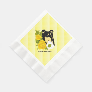 Rough Collie and Yellow Roses Paper Napkins