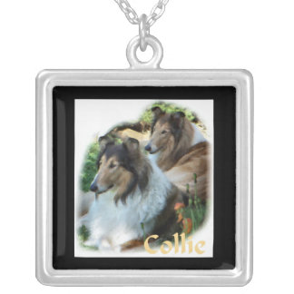 Rough Collie Art Gifts Silver Plated Necklace