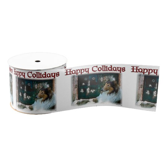 Rough Collie Christmas Grosgrain Ribbon