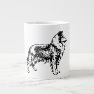 Rough collie dog beautiful illustration jumbo mug