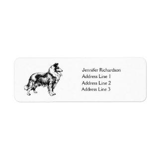 Rough Collie dog custom return address label