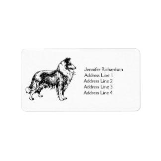 Rough Collie dog personalized custom address label