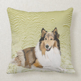 Rough Collie, Long Haired Collie Throw Pillow