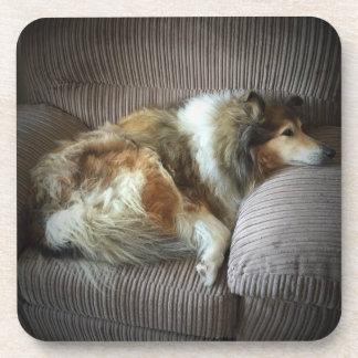 Rough collie on armchair coaster