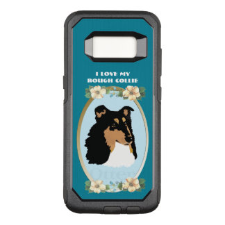 Rough Collie on Teal Floral OtterBox Commuter Samsung Galaxy S8 Case