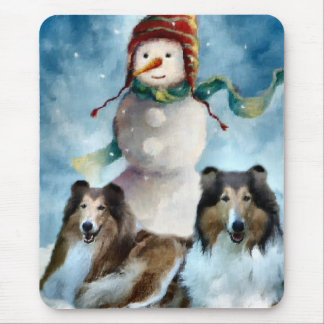 Rough Collie with Snowman Christmas Mouse Pad