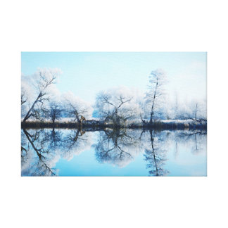 Rough hoar frost landscape at the river Havel Canvas Print