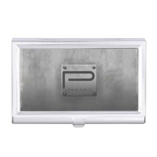 Rough Metal Plate Grey ID327 Business Card Holder