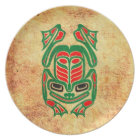 Rough Native Haida Art Frog, red green Plate