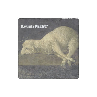 Rough Night Funny Sheep Lamb Vintage Painting Stone Magnet
