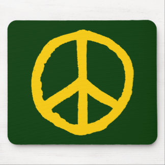 Rough Peace Symbol - Amber on Dark Green Mouse Pad