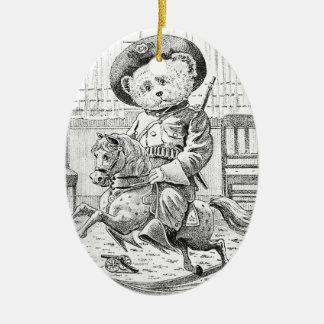 Rough Rider Teddy Bear on Rocking Horse Ceramic Oval Ornament