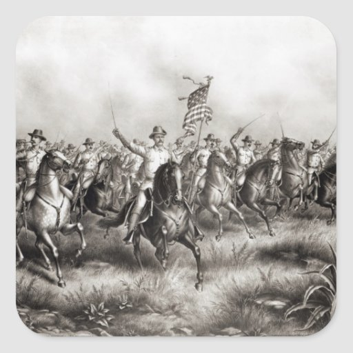 Rough Riders : Colonel Theodore Roosevelt Sticker Carré