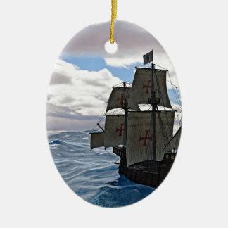 Rough Seas Ahead Ceramic Oval Ornament