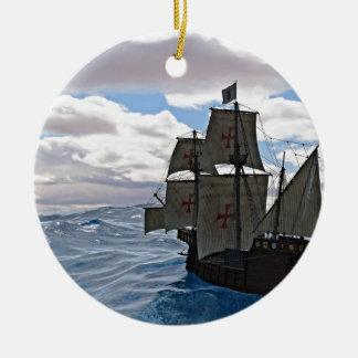 Rough Seas Ahead Round Ceramic Ornament