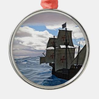 Rough Seas Ahead Silver-Colored Round Ornament
