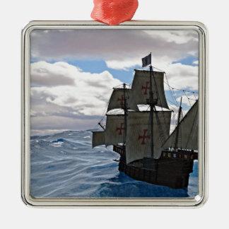 Rough Seas Ahead Silver-Colored Square Ornament