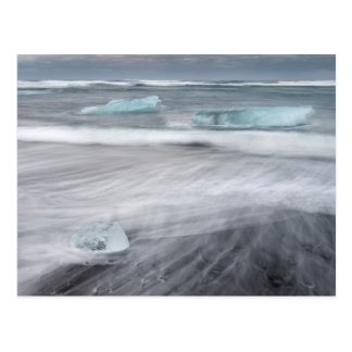 Rough Seascape with ice, iceland Postcard