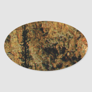 rough yellow surface oval sticker